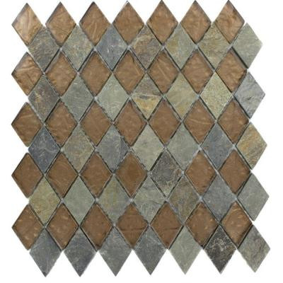 Tectonic Diamond Multicolor Slate and Bronze 11 in. x 12 in. x 8 mm Glass Floor and Wall Tile