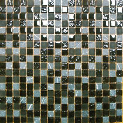 Black Marquee 12 in. x 12 in. x 8 mm Glass Stone Mesh-Mounted Mosaic Tile (10 sq. ft. / case)