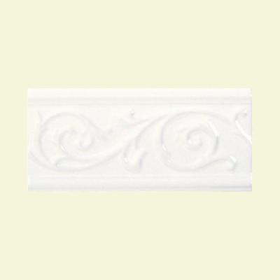 Fashion Accents White 5 in. x 10 in. Ceramic Vine Liner Wall Tile