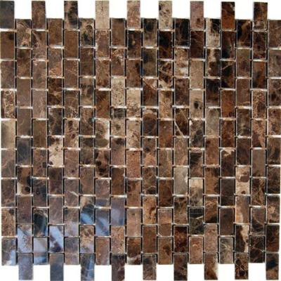 Rich Dark Emperador 12 in. x 12 in. x 8 mm Marble Mosaic Floor and Wall Tile