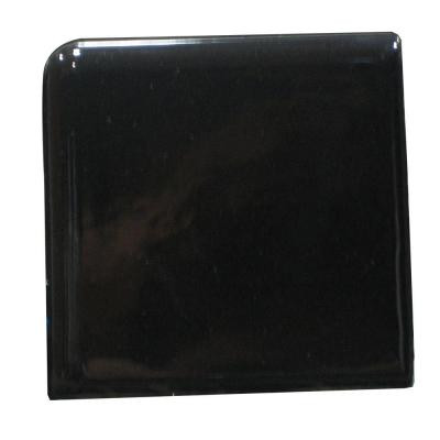 Bright Black 2 in. x 2 in. Ceramic Surface Bullnose Corner Wall Tile -DISCONTINUED