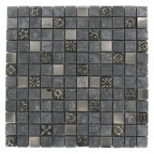 Tapestry 12 in. x 12 in. x 8 mm Marble Glass and Metal Mosaic Floor and Wall Tile