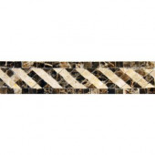 Emperador 2 in. x 8 in. Polished Marble Listello Floor and Wall Tile (10 pieces / case)