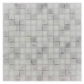 Tetris Carrera Ice Square 12 in. x 12 in. x 8 mm Glass Mosaic Floor and Wall Tile