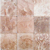 English Walnut 4 in. x 4 in. Tumbled Travertine Floor & Wall Tile-DISCONTINUED