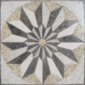 Venti Blend Medallion 24 in. x 24 in. Tumbled Marble Mesh Mounted Mosaic Tile