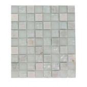 Emerald Bay Blend Squares 1/2 in. x 1/2 in. Marble And Glass Tiles Squares - 6 in. x 6 in. Floor and Wall Tile Sample