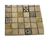Tapestry Hydraneum Mixed Material with Silver Deco Floor and Wall Tile Sample