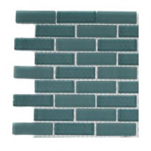 Contempo Turquoise 1/2 in. x 2 in. Brick Pattern Tile Sample