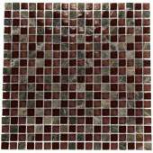 Whiskey Blend 12 in. x 12 in. x 8 mm Marble And Glass Mosaic Floor and Wall Tile