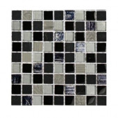 Metallic Carved Hail Blend 1/2 in. x 1/2 in. Marble and Glass Tiles - 6 in. x 6 in. X 8 mmTile Sample