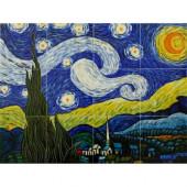 Van Gogh, Starry Night Mural 18 in. x 24 in. Wall Tiles