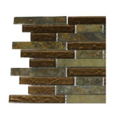 Tectonic Harmony Multicolor Slate and Bronze Glass Tile Sample