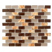 Bronze Shell Brick 10.5 in. x 12.5 in. x 8 mm Glass Mosaic Wall Tile