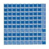 Sonterra Glass Medium Blue Iridescent 12 in. x 12 in. x 6 mm Glass Sheet Mounted Mosaic Wall Tile
