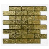 Folia Glass Golden Willow 12 in. x 12 in. x 6.35 mm Gold Glass Mesh-Mounted Mosaic Wall Tile (10 sq.ft./case)