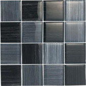 Brushstrokes Nero-1501-3 Mosaic Glass Mesh Mounted - 4 in. x 4 in. Tile Sample-DISCONTINUED