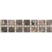 Emperador Dark/Light Border 3 in. x 12 in. Marble Floor and Wall Tile
