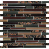 Spectrum Baltic Brown-1660 Granite And Glass Blend Mesh Mounted Floor and Wall Tile - 2 in. x 12 in. Tile Sample