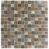 Tectonic Squares Multicolor Slate and Earth Blend Glass Tiles - 6 in. x 6 in.Tile Sample