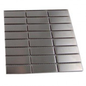 Stainless Steel 1/2 in. x 2 in. Metal Tile Stacked Pattern Tile Sample