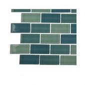 Aqua Splash Blend Glass - 6 in. x 6 in. Tile Sample-DISCONTINUED