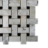 Magnolia Weave White Carrera With Black Dot Marble Tile Sample