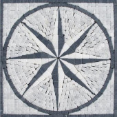 Black & White Star Medallion 12 in. x 12 in. Tumbled Marble Mesh Mounted Mosaic Tile