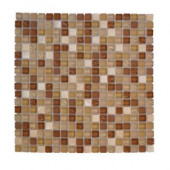 Iced Ginger 12 in. x 12 in. x 8 mm Glass Onyx Mosaic Wall Tile
