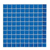 Sonterra Glass Kihea Blue Opalized 12 in. x 12 in. x 6mm Glass Sheet Mounted Mosaic Wall Tile-DISCONTINUED