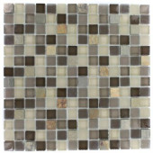 Tectonic Squares Multicolor Slate and Khaki Blend 12 in. x 12 in. x 8 mm Glass Floor and Wall Tile
