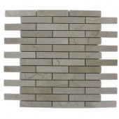 Crema Marfil Large Brick Pattern 12 in. x 12 in. x 8 mm Marble Mosaic Floor and Wall Tile
