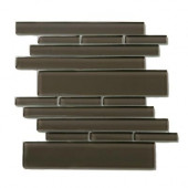 Piano Glass Rhythm 10-1/2 in. x 9-1/2 in. Brown Mesh-Mounted Mosaic Wall Tile (6.92 sq. ft. /case)