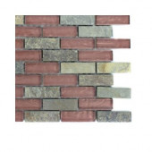 Tectonic Brick Multicolor Slate and Rust Glass Floor and Wall Tile - 6 in. x 6 in. Tile Sample