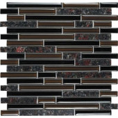 Spectrum English Brown-1664 Granite And Glass Blend Mesh Mounted Tile - 2 in. x 12 in. Tile Sample