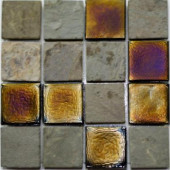 Edgewater Sunset Cliffs Glass and Slate Mosaic & Wall Tile - 5 in. x 5 in. Tile Sample-DISCONTINUED