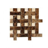 Basket Braid Dark Emperador With Crema Marfil Dot Marble Mosaic - 6 in. x 6 in.Floor and Wall Tile Sample