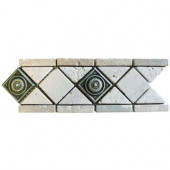 Noche/Chiaro Pewter Scudo 4 in. x 12 in. Travertine/Metal Listello Floor and Wall Tile