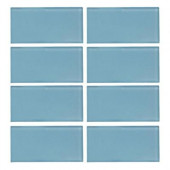 Caribbean Water Gloss 3 in. x 6 in. Glass Wall Tile (1pk / 8 pcs / 4 lb./ Each)