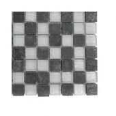 Tectonic Squares Black Slate and Silver Glass Floor and Wall Tile - 6 in. x 6 in. Tile Sample