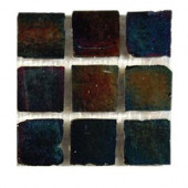 Iridescent Raven 1 in. x 1 in. Glass Tile 6 in. x 6 in. Floor and Wall Tile Sample