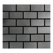 Urban Metals Stainless 12 in. x 12 in. x 8 mm Composite Brick-Joint Mesh-Mounted Mosaic Wall Tile