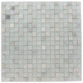 Emerald Bay Blend Squares 12 in. x 12 in. x 8 mm Marble And Glass Mosaic Floor and Wall Tile