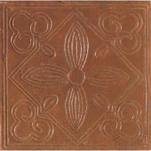 Saltillo Sealed Antique Red 6 in. x 6 in. Ceramic Floral Decorative Floor and Wall Tile-DISCONTINUED