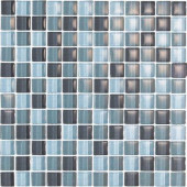 Color Blends Gris-1600 Gloss Mosaic Glass Mesh Mounted Tile - 4 in. x 4 in. Tile Sample-DISCONTINUED