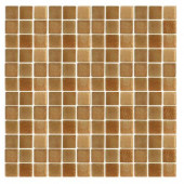 Spongez S-Brown-1410 Mosiac Recycled Glass Mesh Mounted Floor and Wall Tile - 3 in. x 3 in. Tile Sample