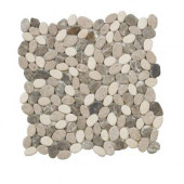 Emperador River Rocks 12 in. x 12 in. x 8 mm Marble Mosaic Floor/Wall Tile