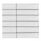 Contempo Bright White Polished 1 in. x 4 in. Glass Tiles Tile Sample