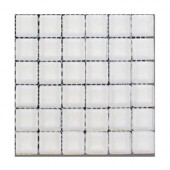 Contempo Bright White Polished 1 in. x 1 in. Glass Tile Sample