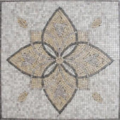 Floral Blend Medallion 24 in. x 24 in. Tumbled Marble Mesh Mounted Mosaic Tile